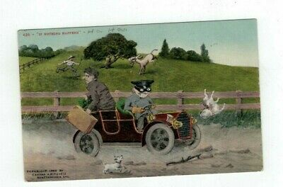 "Antique 1909 Comic Greetings Post Card Men on Vacation ""If nothing happens..."""