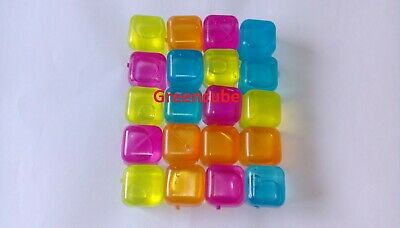 REUSABLE PLASTIC  ICE CUBES MULTI COLOUR COLD DRINKS BAR BARBECUE uk