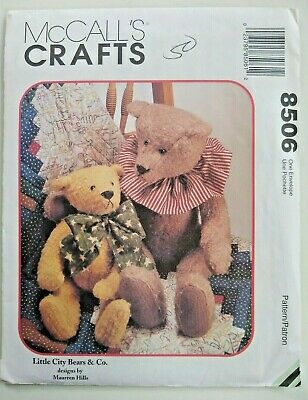 New UNCUT McCall Craft Sewing Pattern Teddy Bears 8507