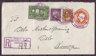 d4183/ Canada St.Roch Quebec Uprated Registered Stationery Cover t/Norway 1927