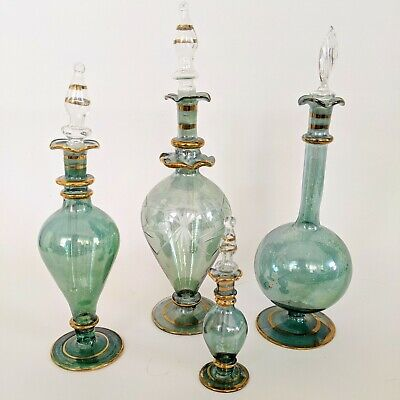 Green Floral Etched Egyptian Blown Glass Perfume Bottles Elegant Vials
