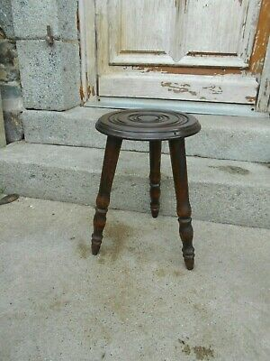 Vintage French 3 legged stool ring pattern on seat lovely quality