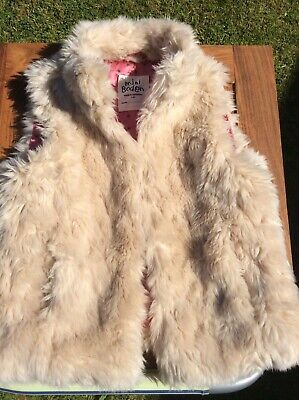 Boden Girls Fake Fur Gilet Pink/brown Star Lining 7-8 (with 2 Cracked Buttons)