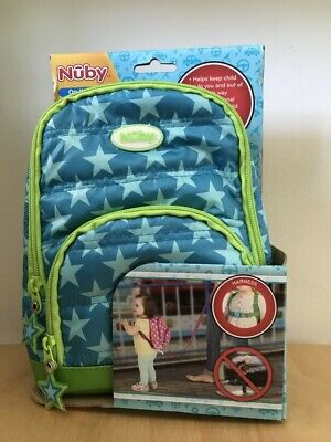 NIB Nuby On the Go Quilted Harness Backpack Blue Green With Stars