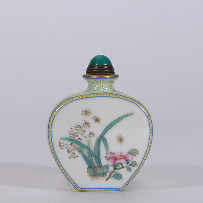 "2.8"" Old Qianlong marked famille rose Porcelain painted orchid Snuff bottle"