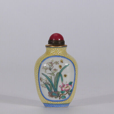 "2.8"" Old Qianlong marked famille rose Porcelain hand painted orchid Snuff bottle"