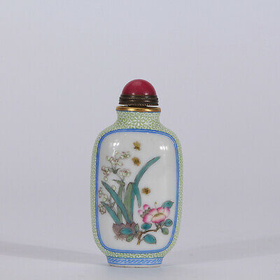 "2.8"" Old Qianlong marked famille rose Porcelain painting orchid Snuff bottle"