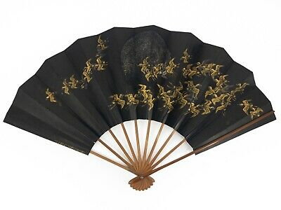 Vintage Japanese Large Odori 'Maiogi' Folding Dance Fan Golden Cranes: May20-A