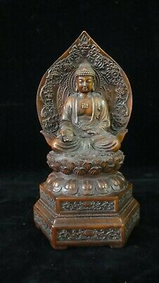 Old Chinese Hand Carving Boxwood Shakyamuni Buddha Wooden Statue Sculpture
