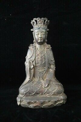 "Large Fine Old Chinese Bronze ""GuanYin"" Buddha Sculpture Statue Marks"