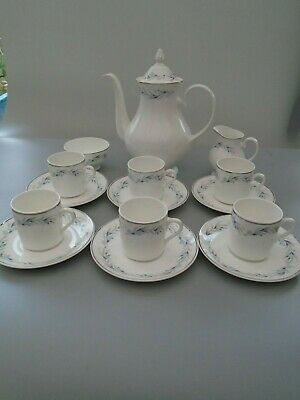 Mayfair Fine Bone China  15 Piece Forget Me Not Coffee Set