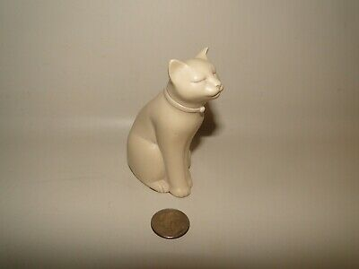 Eclipse White Cat Figurine Stone Casting Hand Made In Wales United Kingdom