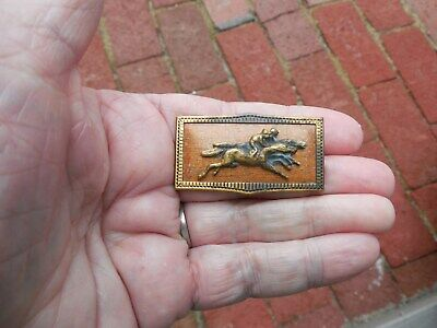 Antique Victorian? Early 1900s? Pin Brooch Thoroughbred Race Horses Horse Racing