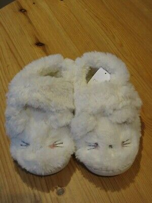 BNWT Next girls cute fluffy bunny rabbit slippers cream size 12 velcro fastening