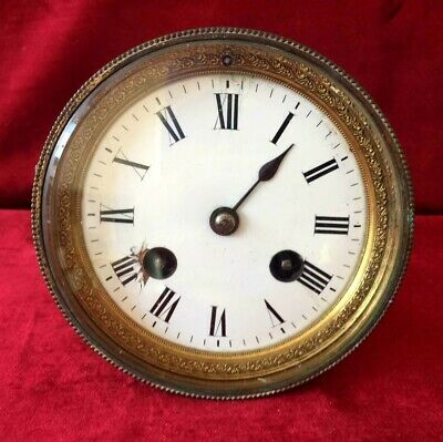 Nice Antique French 8 Day Striking Clock Movement & Dial