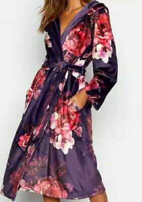 B by Ted Baker-Purple Floral Print 'Splendour' Hooded Dressing Gown Size...