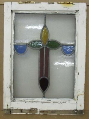 """OLD ENGLISH LEADED STAINED GLASS WINDOW Vertical Floral Cross 14.25"""" x 19.5"""""""