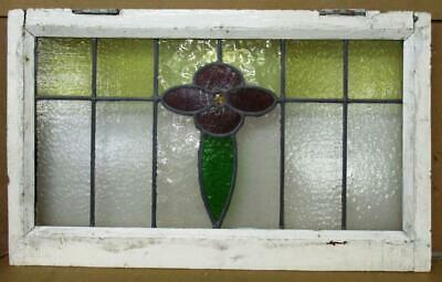 "MIDSIZE OLD ENGLISH LEADED STAINED GLASS WINDOW Daisy Transom 28.25"" x 17.25"""