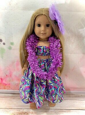 "18"" Inch Doll Hawaian Outfit Fits American Girl Summer Purple Dress"