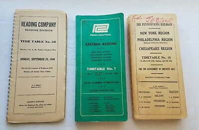 Pennsylvania RR PRR Reading & Penn Central Railroad Train Timetables 1949 - 1968