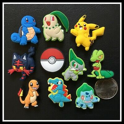 10 Shoe Charms for Crocs POKEMON Pikachu Charmander Chikorita Treecko Totodile