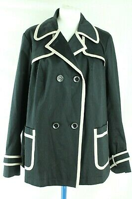 M&S Black & Cream Fully Lined Trench Coat Style Jacket UK 18