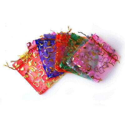 100pcs Luxury Organza Wedding Favour Gift Candy Bags Jewelry Pouch Pack Tools UK