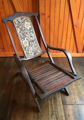 Antique Signed Collignon Folding Walnut Steamer Chair