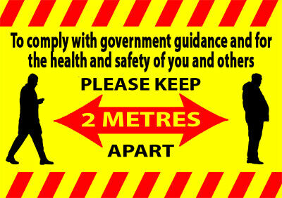 2 metres warning stickers social distance signs health and safety guide meter