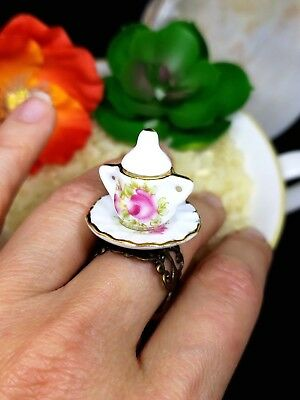 """Alice in Wonderland"" Ceramic Sugar Bowl Ring ADJUSTABLE made by NKDECOR"