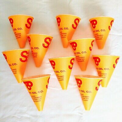 Lot of 10 Vintage Thrifty Oil Paper Funnels Dispos-a Funnel Oil & Gas