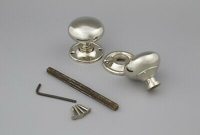 40mm Polished Nickel Solid Brass Cottage Mortice Door Knobs Knob Pair