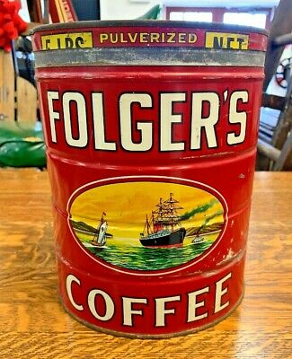 1931 Folger's 5lb. Coffee Can with Lid *RARE SIZE*