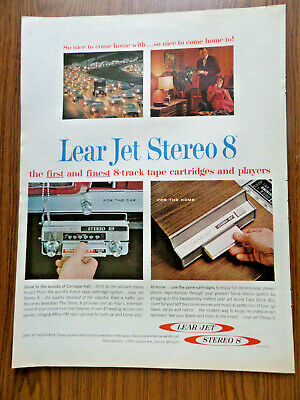 1966 Lear Jet Stereo 8 track Tape Cartridges Players Ad  Home & automobile