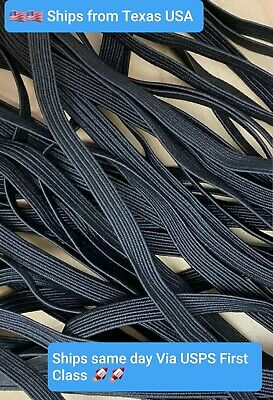 "10 Yards 1/4"" Elastic Band Trim - Black 1/4 inch 6 mm * Ideal for Face Mask"
