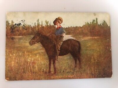 1906 Antique Postcard, Cowgirl On Horse