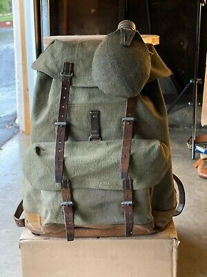 Vtg '60s SWISS ARMY Salt & Pepper Canvas Leather Backpack Military Rucksack Pack