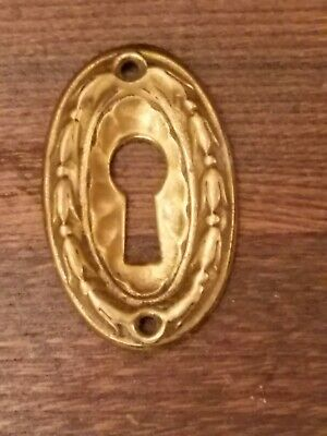 Vintage Yale and Towne solid cast brass keyhole escutcheon. Ex cond.