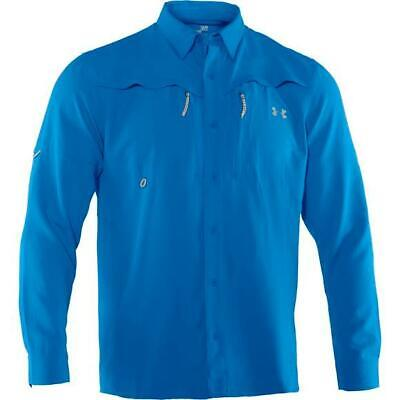 M's Under Armour L/S Ventilalted Woven Shirt Small S blue performance fishing