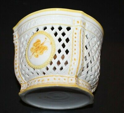 Vintage Openwork Planter Pot Ceramic White W/ Yellow Butterflies Made In Italy