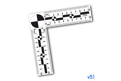 Photographic plastic corner ruler for evidence photo scale / ruler - 10x10sm