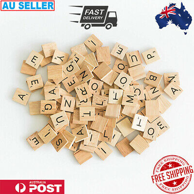 200PCS Wooden Alphabet Scrabble Tiles Letters & Numbers For Crafts Wood Toys