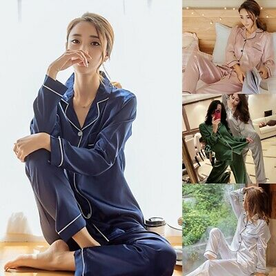 Womens Silk Satin Long Sleeve Pajamas Set Pijama Suit Sleepwear Nightwear Outfit