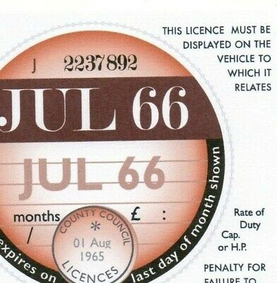 1966 1967 1968 1969 1970 1971 1972 1973 1974 1975 REPLICA Classic Car Tax Disc