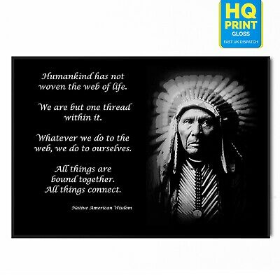 Native American Indian Wisdom Poster Wolf Picture Print ONLY Wall Art A4 ref2