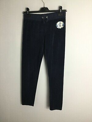 Juicy Couture Navy Blue Velour Skinny Tracksuit Bottoms. Size 13-14yrs. Exc Cond