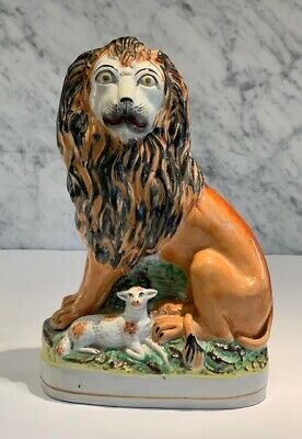 Large Antique Staffordshire Lion and Lamb 19th Century