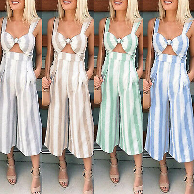 Womens Stripe Strappy Jumpsuit Baggy Wide Leg Knotted Culottes Playsuit UK 8-14