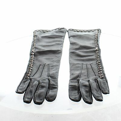 BURBERRY Black Studded Long Leather Gloves