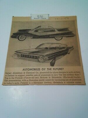 Newspaper Article (Orig) Autos Of The Future.